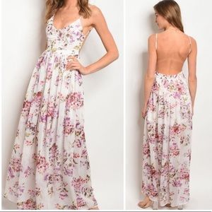Ivory and Pink Floral Open Back Dress